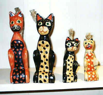 4 Painted Wood Cats with Natural Hemp Tails & Proper Whiskers