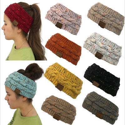 Winter Women Hat Ponytail Bun Beanie Head Band Warm Soft Stretchy Knit Crochet