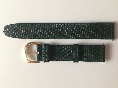 Marcco Dark Green Lizard Grain Leather 18 Mm Man Watch Band Gold Buckle !!