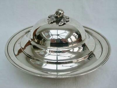 Stylish Solid .900 Hallmarked Silver Circular Bowl & Cover With Acorn Finial.
