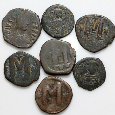 Top Lot Of 7 Large Size Byzantine Bronze Coins