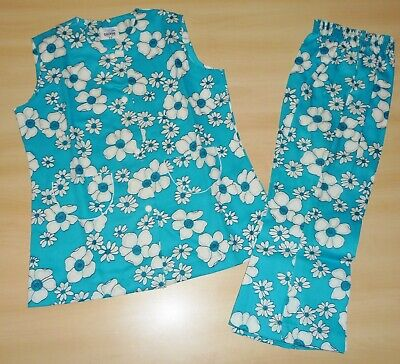 VINTAGE UNWORN 1970'S GIRLS BLUE & WHITE TUNIC & TROUSER SUIT 2 up to 9 YEARS