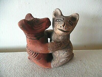 Pre-Columbiam Aztec Mayan Small Pottery Calima Dancing Dogs Figure
