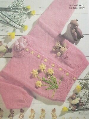 """Dk Pattern 20-26"""" Girls Cardigan Embroidered Detail And Toy (130)"""
