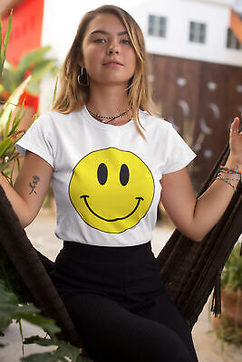 Womens FASHION T-Shirt Happy Face Old School Rave Music Acid Pop 90`s Hipster