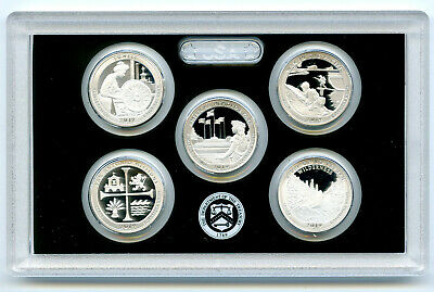 2019 S Us Mint Atb .999 Fine Silver Proof 5 Coin Quarter Set - No Box Or Coa