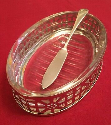 Vintage Silver Plate & Glass Butter Dish With Silver Plated Butter Knife