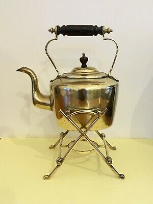 Vintage Small Brass Oval Kettle and Stand
