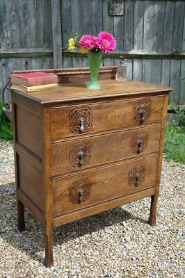 Antique Arts And Crafts Oak Chest Of Drawers Original Handles Carved Detail CHIC