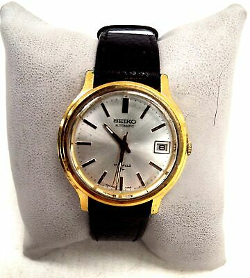 Mens SEIKO 17 Jewels Automatic Stainless Steel + Leather Strap Wristwatch - L44