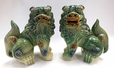 Pair of Matching Vintage Chinese FOO DOG Ceramic ORNAMENTS  - M31