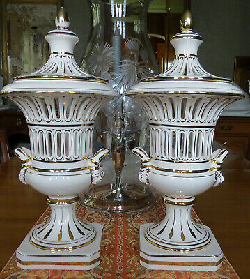 Vintage Pair Italian Urns Gold Gilt Reticulated Porcelain Potpourri Neoclassical