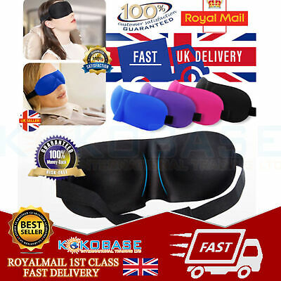 Unisex 3D Eye Masks Soft Sponge Padded Travel Sleeping Blindfold Aid Sleep Cover