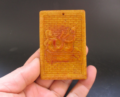 Old Chinese,noble collection,manual sculpture,jade,Man Woman Art,pendant Y5103