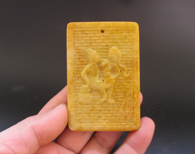Old Chinese,noble collection,manual sculpture,jade,Man Woman Art,pendant Y5104