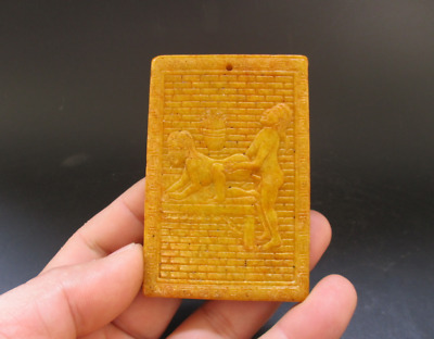 Old Chinese,noble collection,manual sculpture,jade,Man Woman Art,pendant Y5114