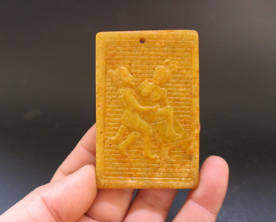 Old Chinese,noble collection,manual sculpture,jade,Man Woman Art,pendant Y5113
