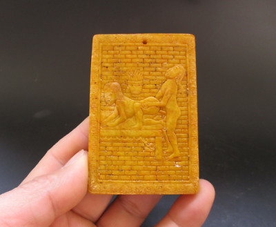 Old Chinese,noble collection,manual sculpture,jade,Man Woman Art,pendant Y5112
