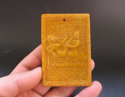 Old Chinese,noble collection,manual sculpture,jade,Man Woman Art,pendant Y5098