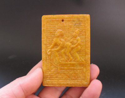 Old Chinese,noble collection,manual sculpture,jade,Man Woman Art,pendant Y5106