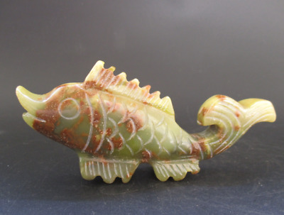 Old China,natural jade,collection,Manual sculpture,fish,Small statue Y5118