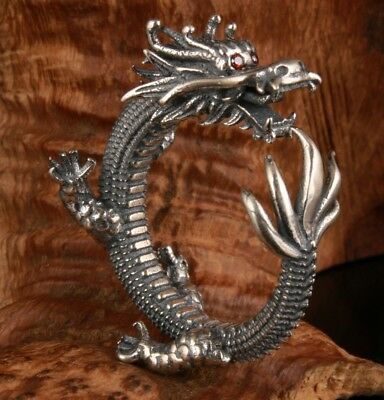 Exclusive Custom Genuine 925 Silver Ring Statue Old Fashion Holy Dragon