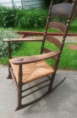 Antique Shaker Rocking Chair Primitive Arms Slat Ladder Back Turned Thrush Seat