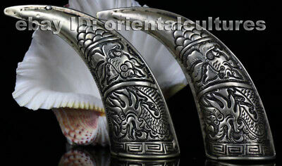 Tribal exotic chinese hand-carved miao silver ox horn (pair)