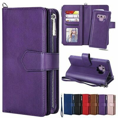 For Samsung Galaxy Note8 9 S8 S9 Plus Removable Leather Zipper Wallet Case Purse