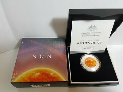 SCARCE 2019 $5 silver domed proof coin SUN in RAM package Also listed earth moon