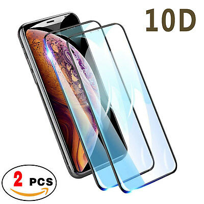 10D Full Coverage Tempered Glass Screen Protector For iPhone X XS Max XR 8 7 6+