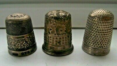 3 Antique Sterling Silver Hallmarked Thimbles 1899 & 1912 & Chester 1923 C Pics