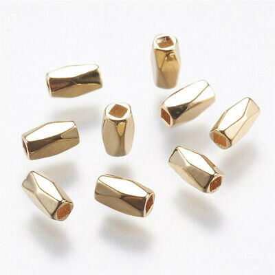 20 pcs Real Gold Plated Faceted Oval Brass Beads Jewelry Making 6x4x4mm Hole 2mm