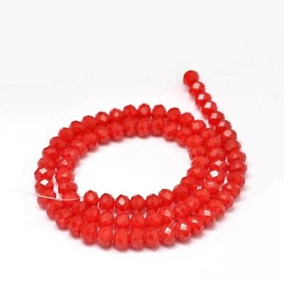 1 strand Faceted Rondelle / Abacus Opaque Glass Beads Strand, Red, 6x4mm