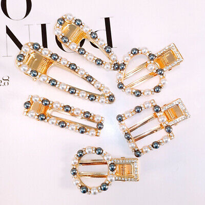 Women Party Barrette Circle Square Heart Faux Pearl Hairpin Hair Clip