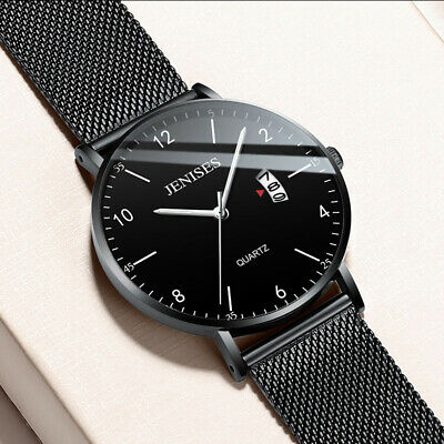1Pc Luxury Men's Analog Date Slim Mesh Stainless Steel Wrist Watch Waterproof