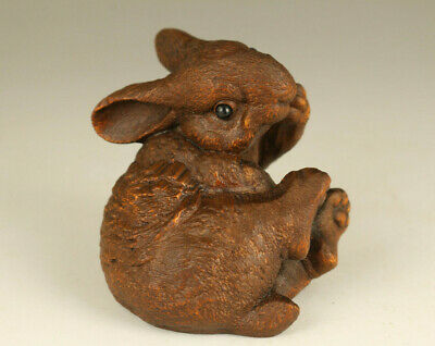 Rare Old boxwood lovely rabbit hand carving table decoration noble gift