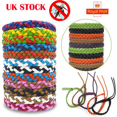 10* Anti Mosquito Pest Insect Repellent Bracelet Leather Wrist Bands Wristbands