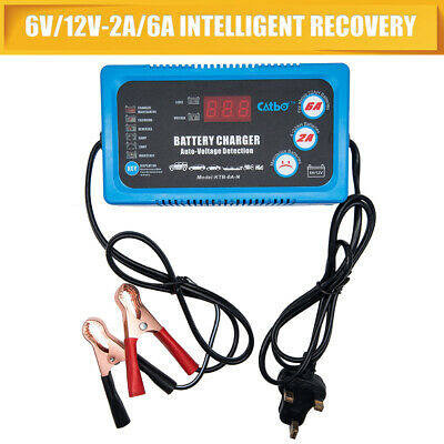 Car Battery Charger ~ Portable 6V 12V 2A 6A AGM/GEL Trickle, Vehicle Motorbike