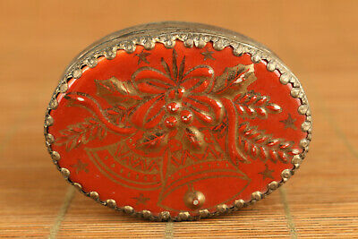 Miao silver inlay Porcelain old Jewel box noble gift painting flower bell