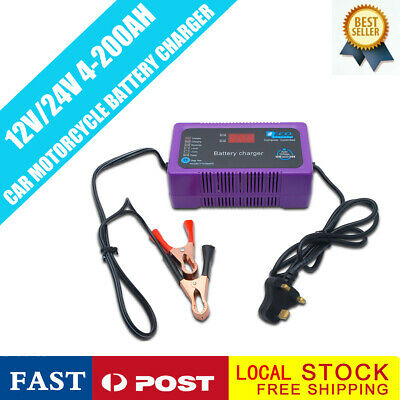 Car Battery Charger 12 Volt 24v Trickle Van Motorhome Caravan Motorbike Quad