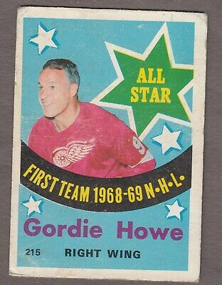 Gordie Howe 1969/70 OPC All Star Card #215 ~ Detroit Red Wings ~ (low grade)
