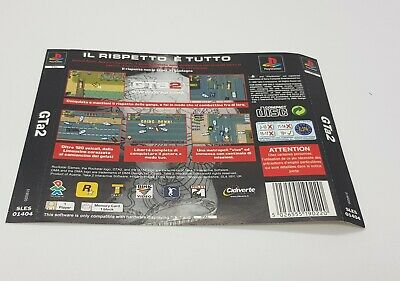 Retrocopertina gta2 grand theft auto PlayStation 1 black label back case cover