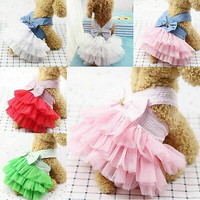 Pet Dog Cat Puppy Costumes Bow-Knot Lace Tutu Dress Clothes Cute Outfits Apparel