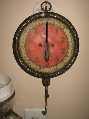 VINTAGE ANTIQUE RED CHATILLON HANGING Local Market SCALE patented Early 1900's