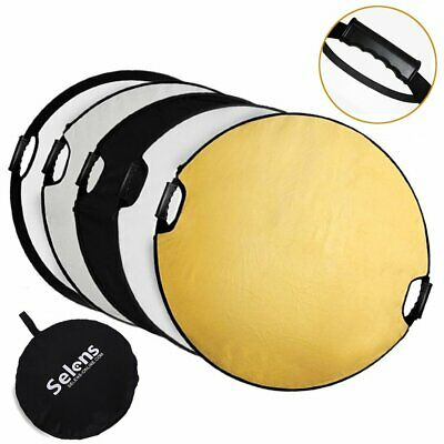 Selens 5-in-1 43 Inch (110cm) Portable Handle Round Reflector Collapsible