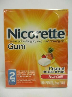 Fruit Chill Nicorette Nicotine Gum 2 mg 160 PIECES Total SEALED Exp 12/2021