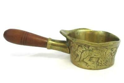 Vintage Heavy Brass Water Dippers Wood Handle Chinese Dragon Etched Design