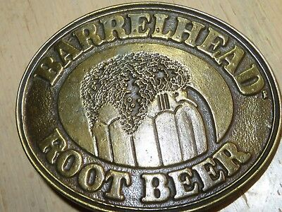 VINTAGE BELT BUCKLE Advertising Brass Tone BARRELHEAD ROOTBEER