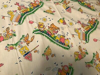 GREAT VTG BABY QUILT SHEET BEDDING FABRIC Teddy Bear TRAIN Turtle STUFF ANIMALS